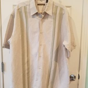Mens Linen blend tan Cubavera button shirt XL
